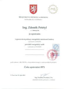 Osvědčení energetického specialisty od MPO ČR