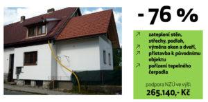 Modelový příklad zateplení rodinného domu.
