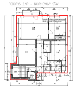 Půdorys druhého nadzemního podlaží s vyznačenými změnami (zateplením a výměnou oken)