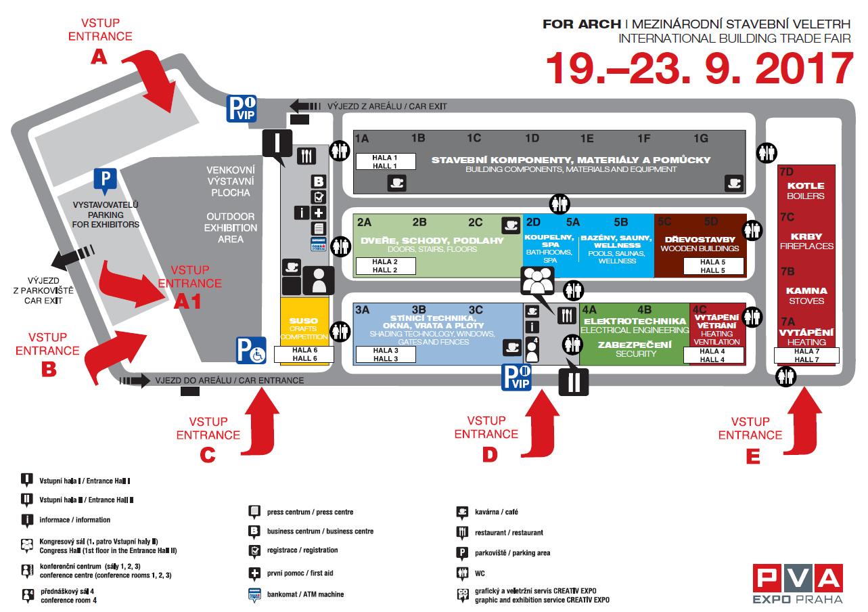 Mapa výstavního areálu s vyobrazením zaměření jednotlivých hal